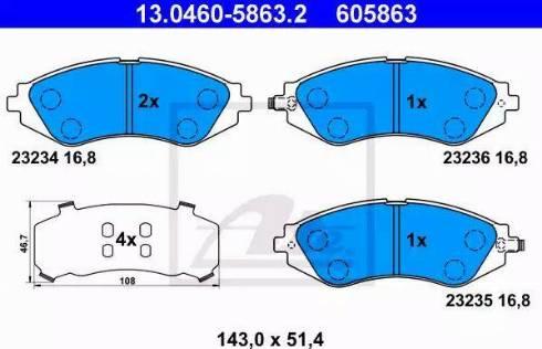 ATE 13.0460-5863.2 - Set placute frana, frana disc reperautotrans.ro