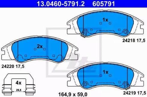 ATE 13.0460-5791.2 - Set placute frana, frana disc reperautotrans.ro