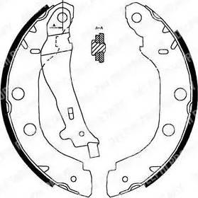 Delphi LS1828 - Setul de frânare, frâne cu tambur reperautotrans.ro