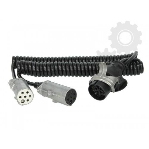 Cablu Electric Spiralat Adaptor Priza, Auto, Tip Y, N/S, 15/7/7, Mufa 7 / 24V, 9 Pini Activi, 3.5m, Metalic, HELLA