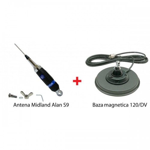 Antena Statie Radio Auto CB, Midland Alan S9 + Magnet 120/DV