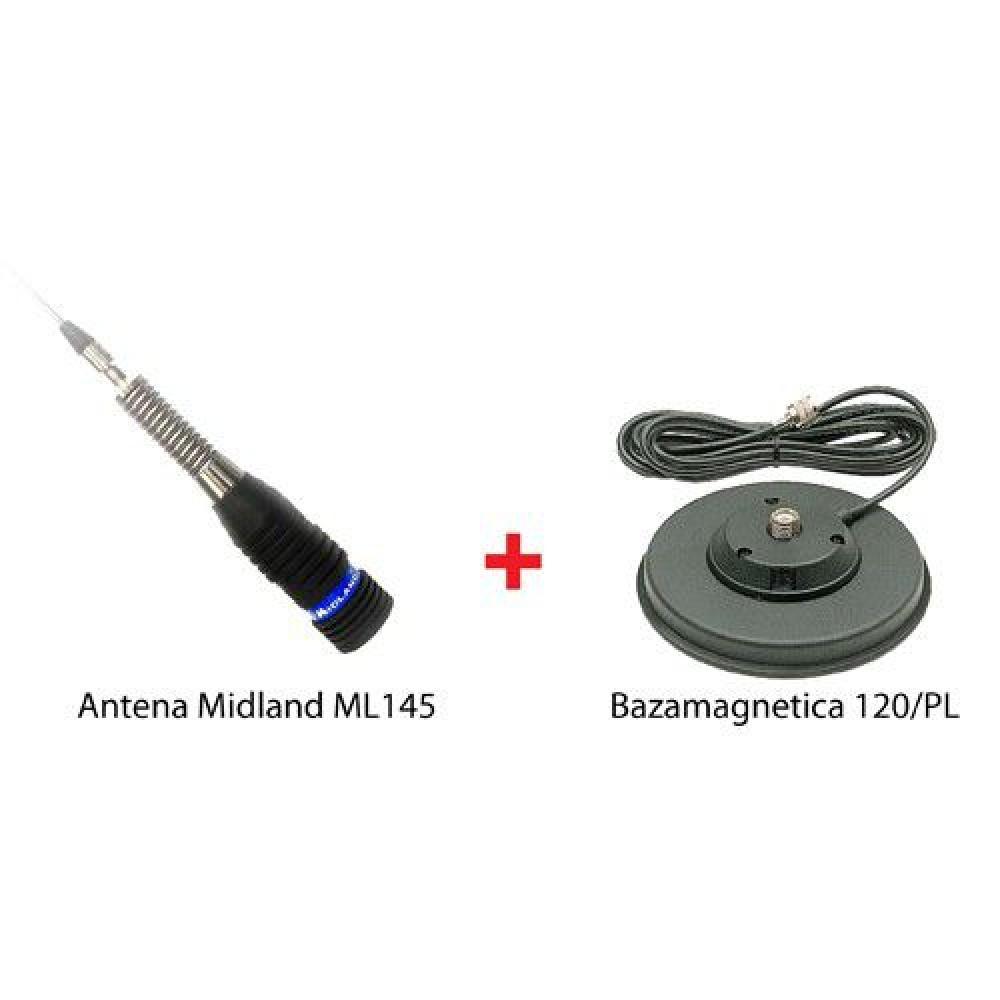 Antena Statie Radio Auto CB, Midland ML145 Cu Magnet 120/PL Inclus