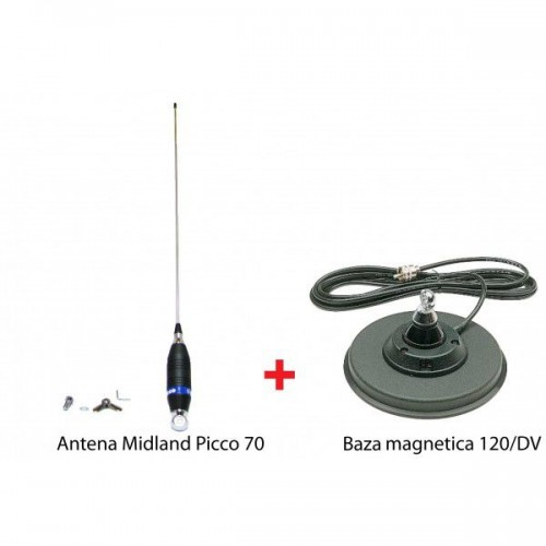 Antena Statie Radio Auto CB, Midland Picco 70C + Midland 120/DV