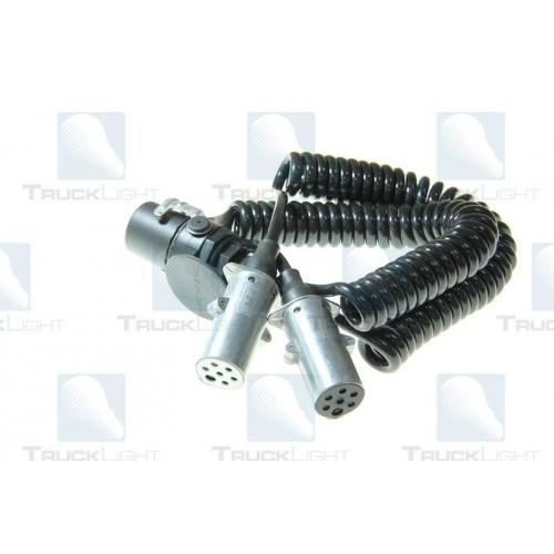 Cablu Electric Spiralat Adaptor Priza, Auto, Tip Y, N/S, 15/7/7, Mufa 7 / 24V, 9 Pini Activi, 4m, TRUCKLIGHT
