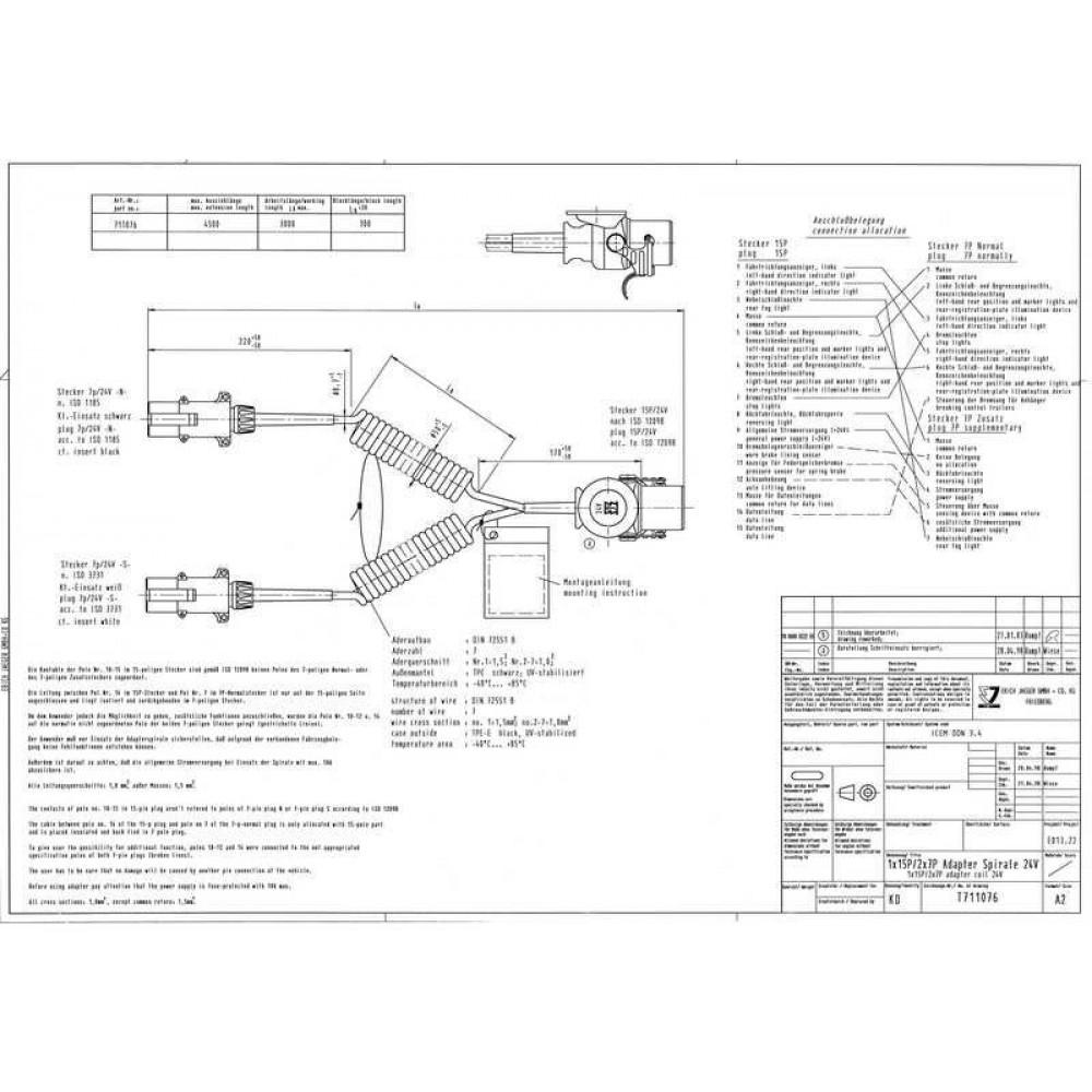 Cablu Electric Spiralat Adaptor Priza, Auto, Tip Y, N/S, 15/7/7, Mufa 7 / 24V, 12 Pini Activi, 4.5m, JAEGER
