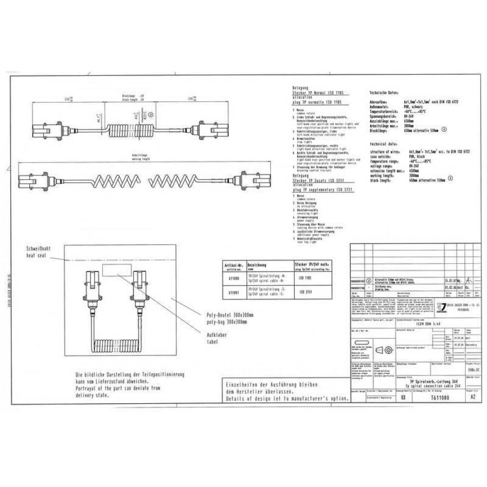 Cablu Electric Spiralat, Tip S 7/24V, 6 Pini Tip Mama, Feminin, 4.5m, Din Aluminiu, JAEGER
