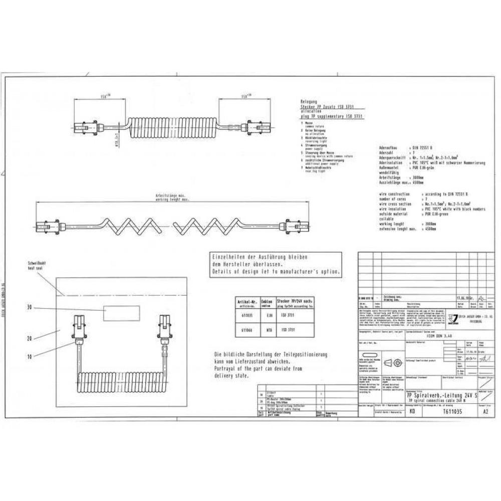 Cablu Electric Spiralat, Tip S 7/24V, 6 Pini Tip Mama, Feminin, 4.5m, Din Metalic, JAEGER