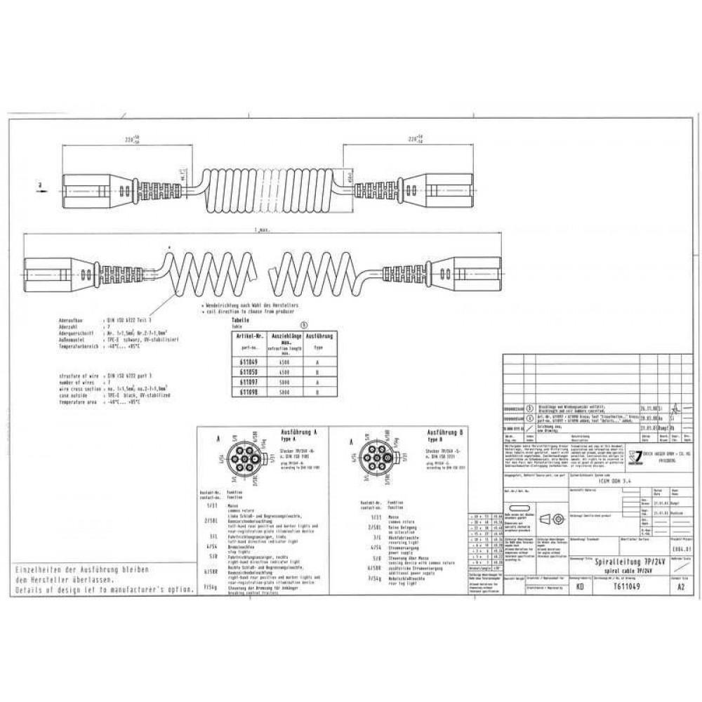 Cablu Electric Spiralat, Tip N 7/24V, 7 Pini Tip Mama, Feminin, 4.5m, Din Plastic, JAEGER