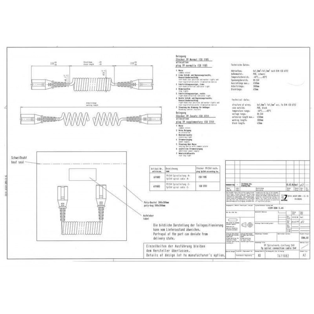Cablu Electric Spiralat, Tip S 7/24V, 6 Pini Tip Mama, Feminin, 4.5m, Din Plastic, JAEGER