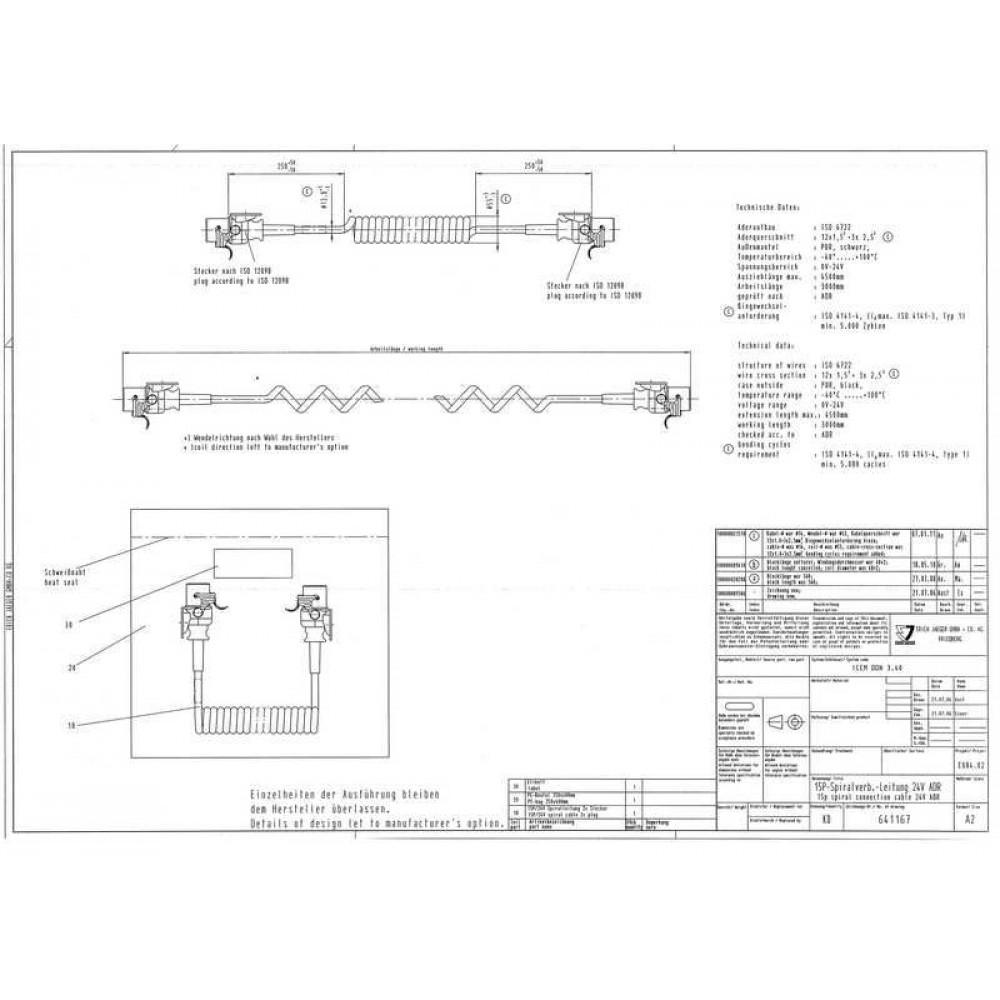Cablu Electric Spiralat ADR, 24V, 15 Pini, 4.5m, JAEGER