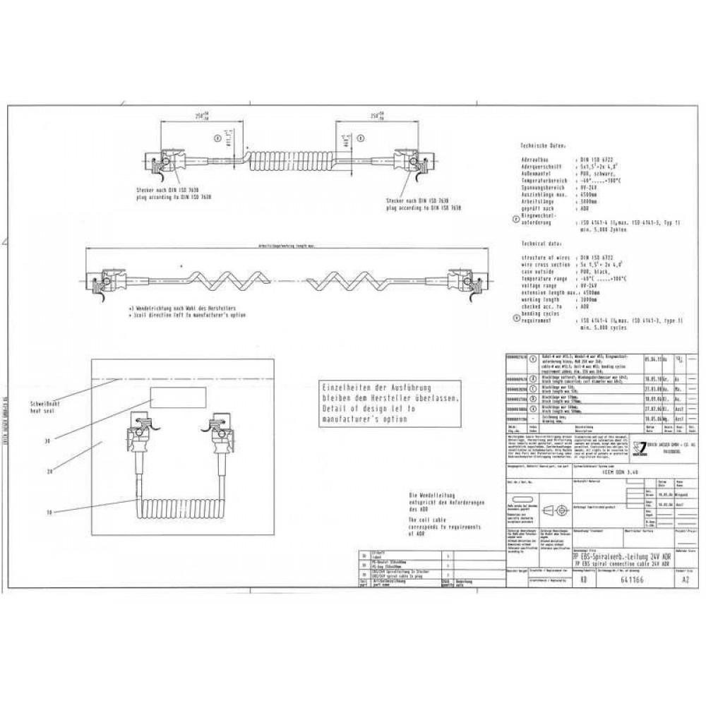 Cablu Electric Spiralat, EBS / ABS, 7 Pini Mama, Feminini, 24V, 4m, Din Hytrel, JAEGER