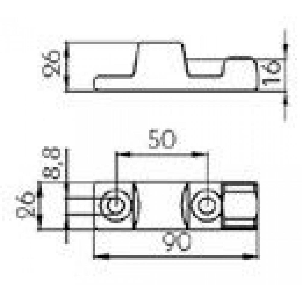 Balama Oblon Mic Cu Deschidere La 180 Grade, Lungime 90mm (9cm), 70x8mm (7x0.8cm), Soclu