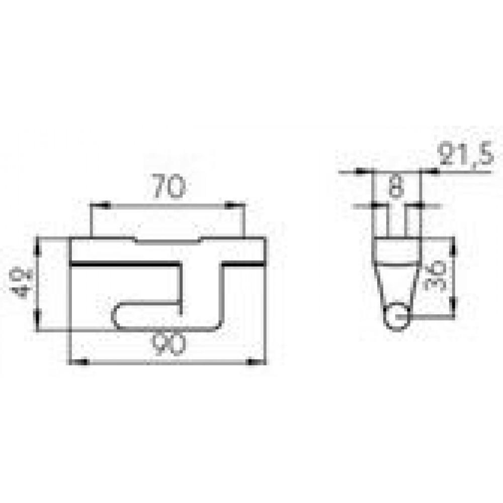 Balama Oblon Mic Cu Deschidere La 180 Grade, Lungime 90mm (9cm), 50x8.8mm (5x0.88cm), Pini
