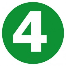 Eticheta, Autocolant Cifra 4, Autocolant Camion Euro 4, Mare, Diamentru 22 cm (220 mm)