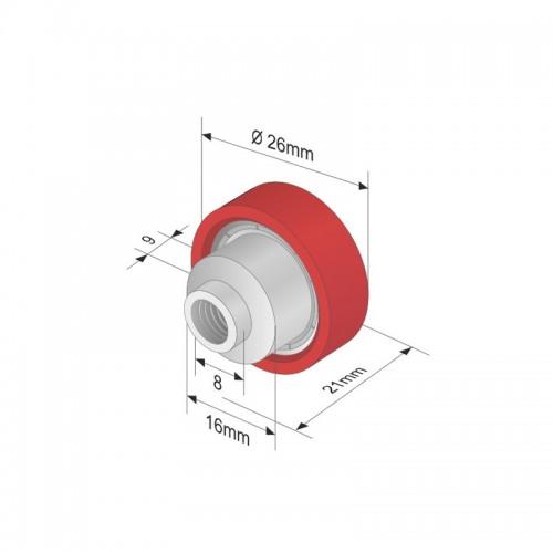 Rola Prelata, Element, Roata Culisare Prelata, Acoperis, din Plastic, 26x9mm