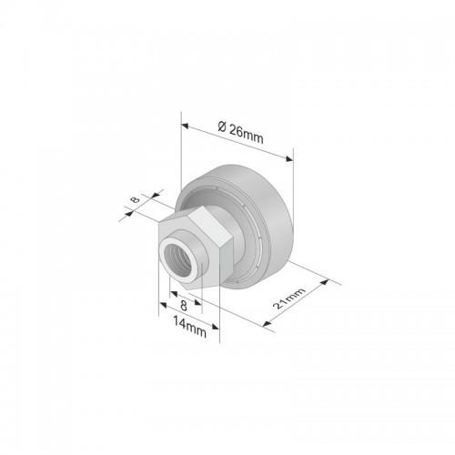 Rola Prelata, Element, Roata Culisare Prelata, Acoperis, Metalic, Tip Rulment, Manson Hexagonal, 26x8mm