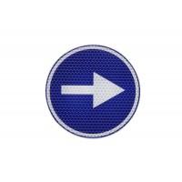 Eticheta, Autocolant Reflectorizant Semn Obligatoriu Stanga/Dreapta, Diamentru 20cm (200mm)