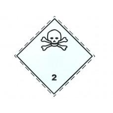 Eticheta ADR Autocolanta Pericol Transport Gaze Toxice Clasa 2.3, 300x300mm ( 30x30cm )