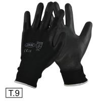 Manusi de Lucru Negre, pt protectia muncii, din nylon cu palma de poliuretan, Set 2 bucati, JBM, Marimea 9, L
