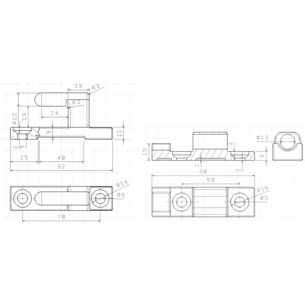 Balama Oblon, deschidere la 180 grade, Set complet cu elemente de prindere, Lungime 90mm (9cm)